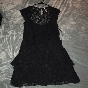 Double layer black lace free people dress